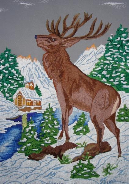 Схемы вязания спицами рисунок олень