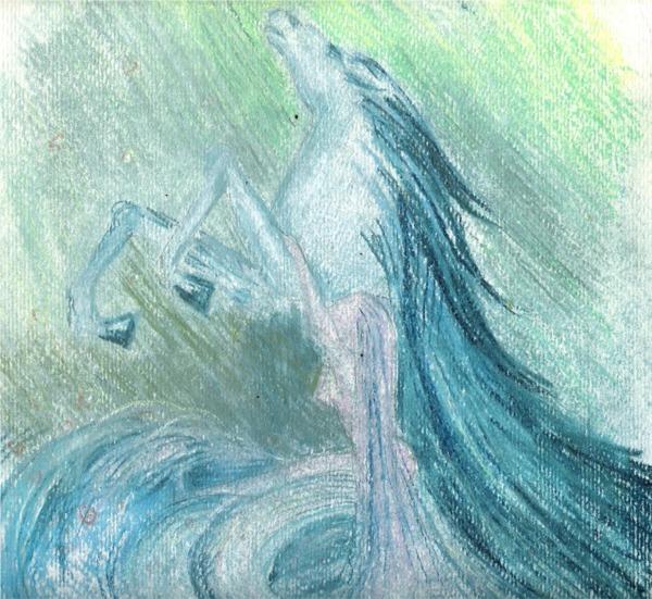 Pferd, Frau, Pastell